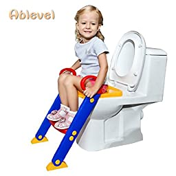 Ablevel NEW BABY TODDLER STEP LADDER LOO TRAINER SAFETY POTTY TRAINING TOILET SEAT (Orange)
