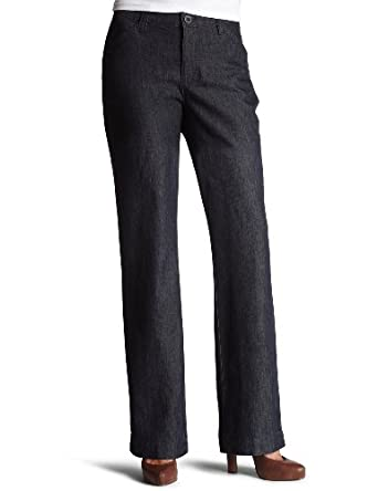 Lee Women's Comfort Waist Straight Leg Pant,  Indigo Rinse,  12 Medium