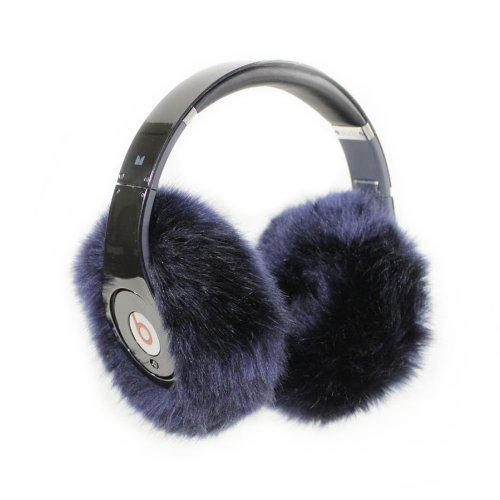 Earmuffies - Premium Faux Fur Earmuff Covers For Headphones - Large Navy Blue (Fits Beats Studio/Executive And Other Popular Headphones)
