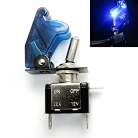 New 12V/20A Blue LED Illuminated On/off SPST Car Automotive Toggle Switch Button