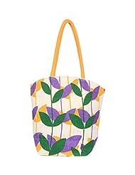 FabSeasons Floral Print Jute Bag