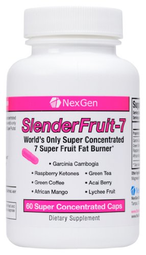 Slenderfruit-7 - Weight Loss & Appetite Suppression Diet Pills With Garcinia, Raspberry Ketones, Green Coffee, Green Tea, Acai Berry, African Mango, & Lychee(60 Caps)