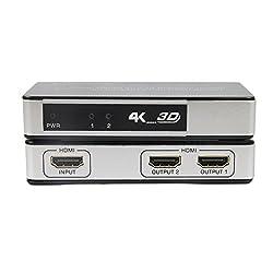 J-Tech Digital Premium Quality 2-port Hdmi V1.4 1x2 Powered Amplifier Splitter 1 in 2 Out with Ultrahd 4k X 2k, 3d 1080p, Hd Audio, Hdcp