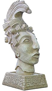 King Pacal Head Statue on Ceremonial Base