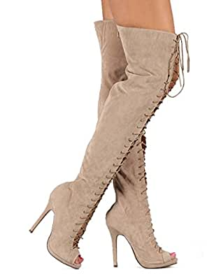 Amazon.com: Liliana DK66 Women Velvet Peep Toe Lace Up Thigh High