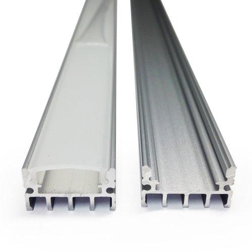 1M/3.3Ft Shallow Flush Mount U-Shape Aluminum Channel - Led Aluminum Extrusion For Flex/Hard Led Strip Light W/Oyster White Cover-U04