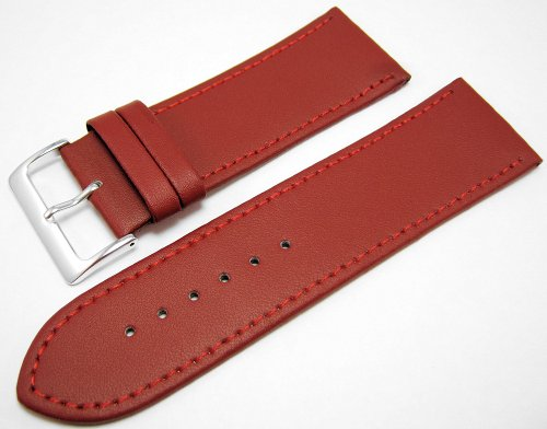 Red Leather Watch Strap Band With A Stitched Edging And Nubuck Lining 28mm