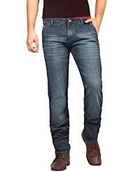 FN Jeans Stylish Navy Blue Slim Fit Low Rise Stone Wash Denim For Men | FNJ9150
