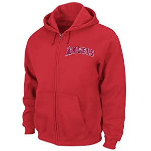 Los Angeles Angels Of Anaheim Athletic Red Twill Logo Full-Zip Hooded Sweatshirt by Majestic