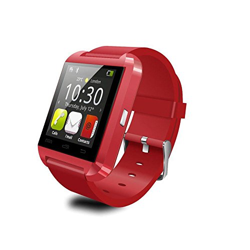 ANDROSET Bluetooth Smart Watch Touch Screen with Mic for iPhone and Android, Samsung S4 S5 Note 2 Note 3 HTC (RED)