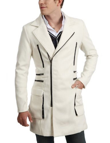 9Xis Mens Casual Zip-Up Style Slim Coat WHITE XL (9MO022)