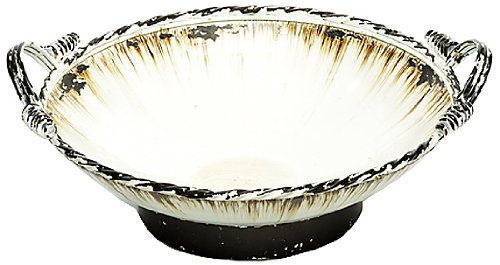 Caffco International Metal Bowl On Base With Handles, 17-Inch Diameter, Antiqued Cream