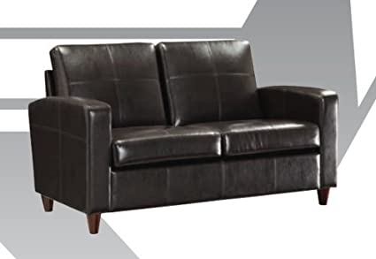 Black Eco Leather Loveseat By Office Star Products