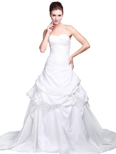 Topwedding Strapless Sweetheart Princess Wedding Dress with Pick Up Chapel Train