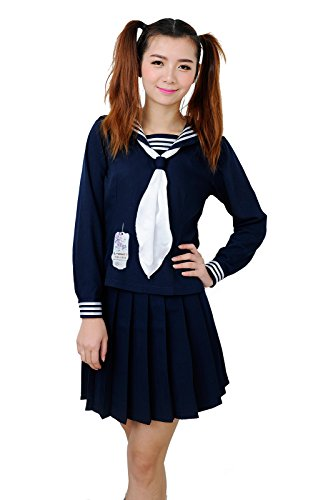 Anime Clothes Classic Navy Sailor Suit Long Sleeve Girl Students School Uniforms