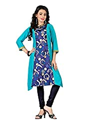 TheEmpire Casual Wear Blue Coloured Rayon Stitched Kurti - L