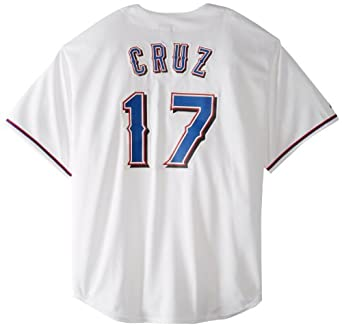 MLB Texas Rangers Nelson Cruz White Home Short Sleeve 6 Button Synthetic Replica... by Majestic
