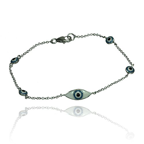 Sterling Silver Evil Eye Bracelets For Children & Women 7.5