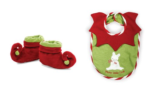 Bunnies by the Bay Be Elfish Christmas Bib and Booties Set