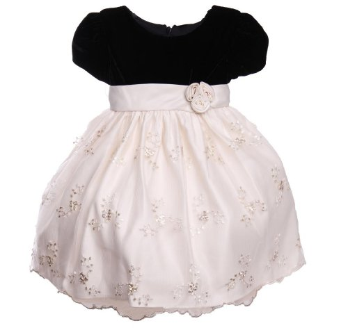Girl Ivory And Black Velour Special Occasion Dress Size 4T