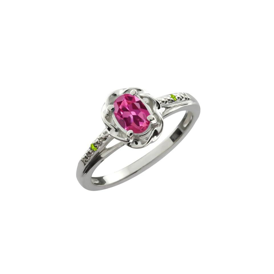0.51 Ct Oval Pink Tourmaline Green Peridot 18K White Gold Ring