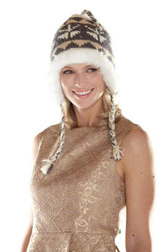Y.A.K Apparel faux fur lined earflap hat - white, black/white - one size
