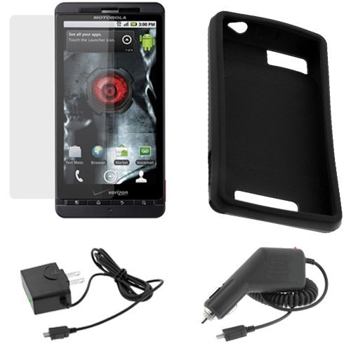 GTMax Black Soft Rubber Silicone Skin Cover Case + Clear LCD Screen Protector Film + Car Charger + Home Charger for Verizon Motorola Droid X CDMA Cell Phone