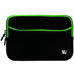 VanGoddy Protective Lightweight Sleeve Cover Case for 7in Vizio Vz-706 (Black/Green Trim)
