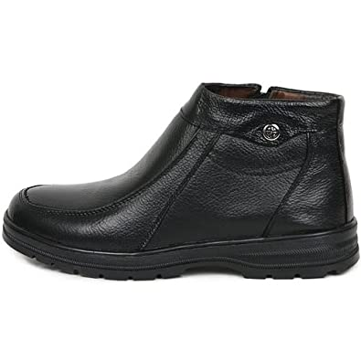 New Mens Casual Leather Black Ankle Boots Snow Warm Winter Side zipper Shoes (6.5)