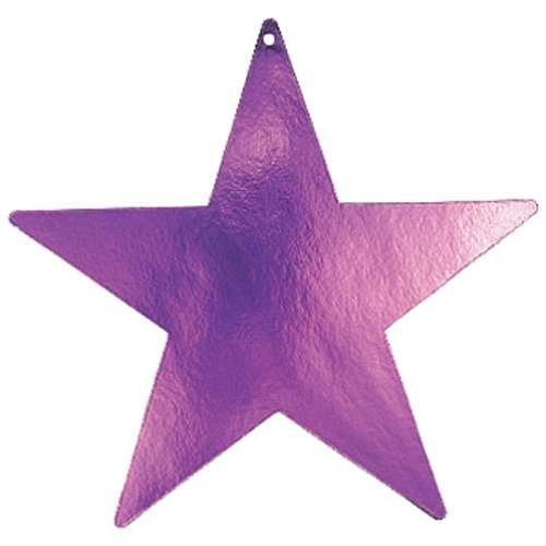 "Amscan Girls Pretty Bulk Foil Star Party Cutouts, 12"", Purple"