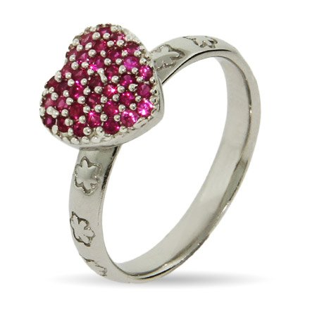Stackable Reflections Pink Pave CZ Heart Stackable Ring Size 9 (Sizes 4 5 6 7 8 9 Available)