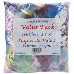Zucker Feather Products Dyed Feather for Crafts Assorted