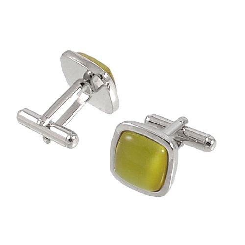 Allegra K Pair Metal Frame Yellow Plastic Bead Mens Shirt Sleeve Button Cufflinks