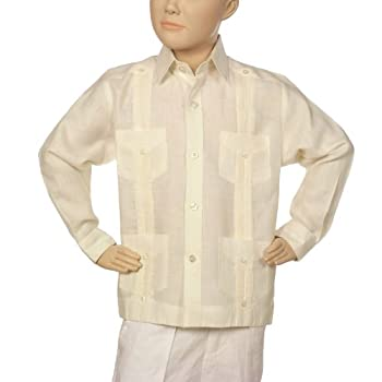 Boys linen guayabera shirt in ivory.