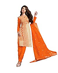 Drapes Women's Cotton Printed Unstitched Dress Material (Orange)