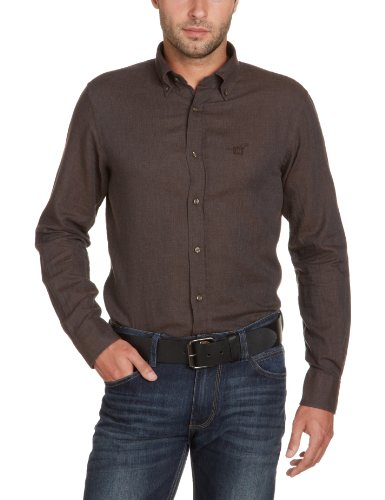 Henry Cotton's Men's 220125001150 Casual Shirt Brown (Braun 295) 39