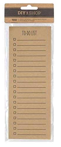 American Crafts-DIY Shop 3 Kraft To-Do List Notepad 3 cm x 20 cm, confezione da 100, in acrilico, multicolore