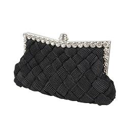 BMC Womens Evening Elegant Jeweled Rhinestone Pleated Cocktail Party Handbag-BLACK
