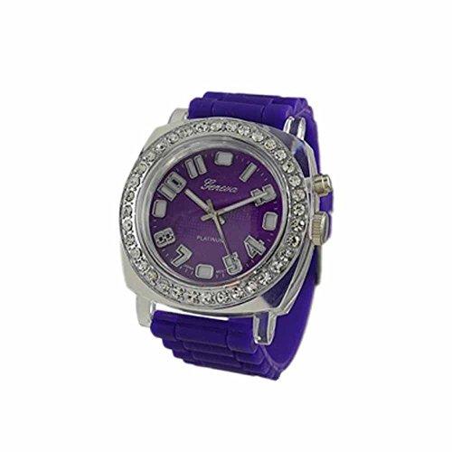 Geneva Platinum Silicone Rubber Cz Light Up Watch Purple