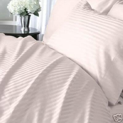 Italian 1200 Thread Count Egyptian Cotton Duvet Cover Set , California King, Pink Stripe, Premium Italian Finish front-995882