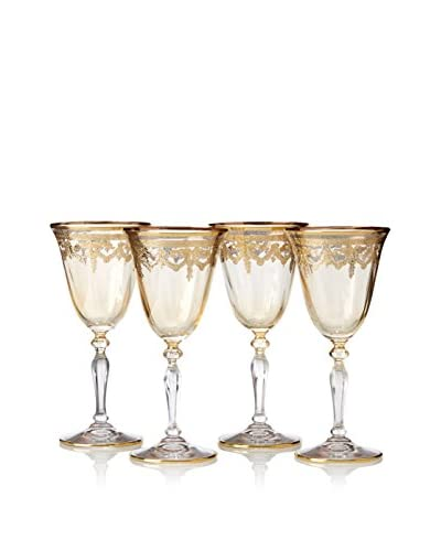 A Casa K Set of 4 Melodie Décor Crystal 7-Oz. Cordial Glasses, Clear/Gold