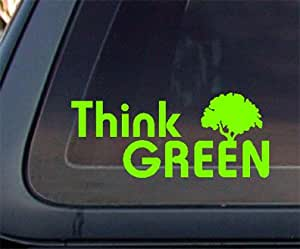 Think Green Car Decal / Sticker - Lime Green