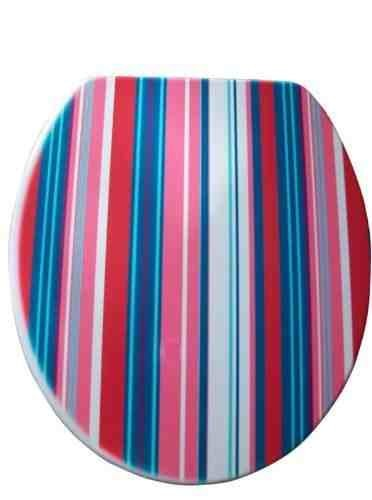 Stripe Pattern Toilet Seats with Chrome plate Hinges