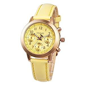 TIME100 Ladies' Fashion Multicolor Multifunction Yellow Genuine Leather Waterproof Quartz Watch #W70073L.06A