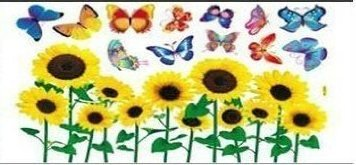 Flowers, Butterflies And Sunflowers childrens wall stickers, 12 butterflies and Sun Flowers wall stickers
