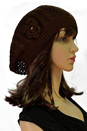 Mesh Crocheted Cable Knit Stretch Flower Accented Beret - Brown