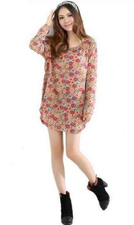 Aolevia Sexy Robe Détente En Coton à Longue Manche Parfait Pour Femme Plantureuse (Style 1)