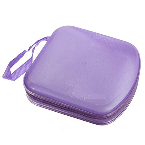 Foxnovo Portable Clear Plastic 40 CD DVD VCD Disc Holder Storage Box Bag Wallet Case Protector Organizer (Purple) (Remove Scratches From Plastic compare prices)