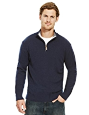 2in Longer Blue Harbour Pure Lambswool Zip Neck Jumper