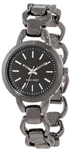 Nine West Women's NW/1349GNGN Round Gunmetal-Tone Open Link Bracelet Watch
